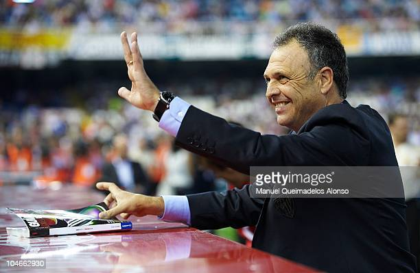 Head coach Joaquin Caparros of Athletic Bilbao greets the public before the La Liga match between Valencia and Athletic Bilbao at the Estadio...