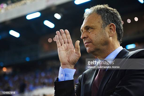 Head coach Joaquin Caparros of Athletic Bilbao reacts before the La Liga match between Valencia and Athletic Bilbao at the Estadio Mestalla on...