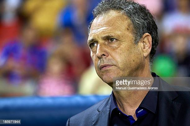 Head coach Joaquin Caparros of Levante looks on prior the La Liga match between Levante UD and RCD Espanyol at Estadio Ciutat de Valencia on October...