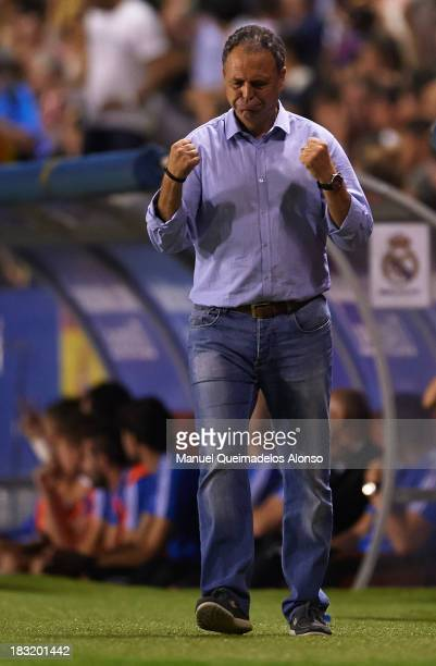 Head coach Joaquin Caparros of Levante reacts during the La Liga match between Levante UD and Real Madrid at Ciutat de Valencia on October 5 2013 in...