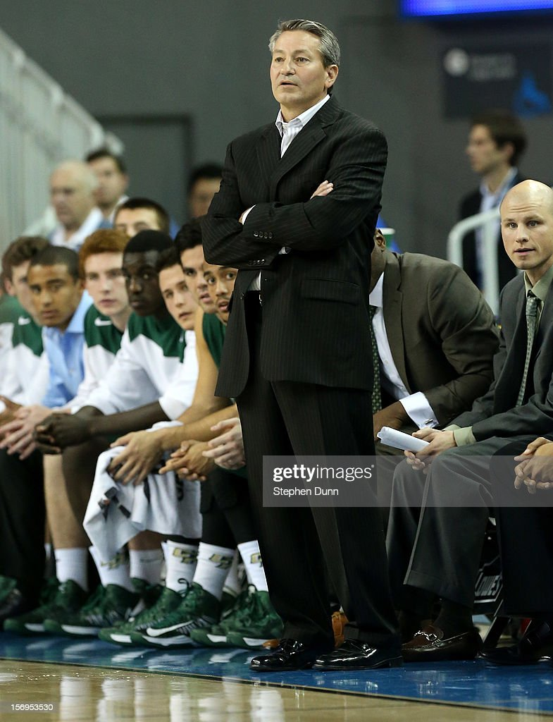 Head coach Joe Callero of the Cal Poly Mustangs looks on during the game with the UCLA Bruins at Pauley Pavilion on November 25, 2012 in Los Angeles, California. Cal Poly won 70-68.