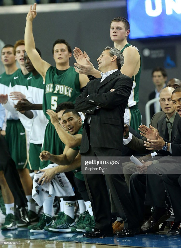 Head coach Joe Callero of the Cal Poly Mustangs reacts during the game with the UCLA Bruins at Pauley Pavilion on November 25, 2012 in Los Angeles, California. Cal Poly won 70-68.