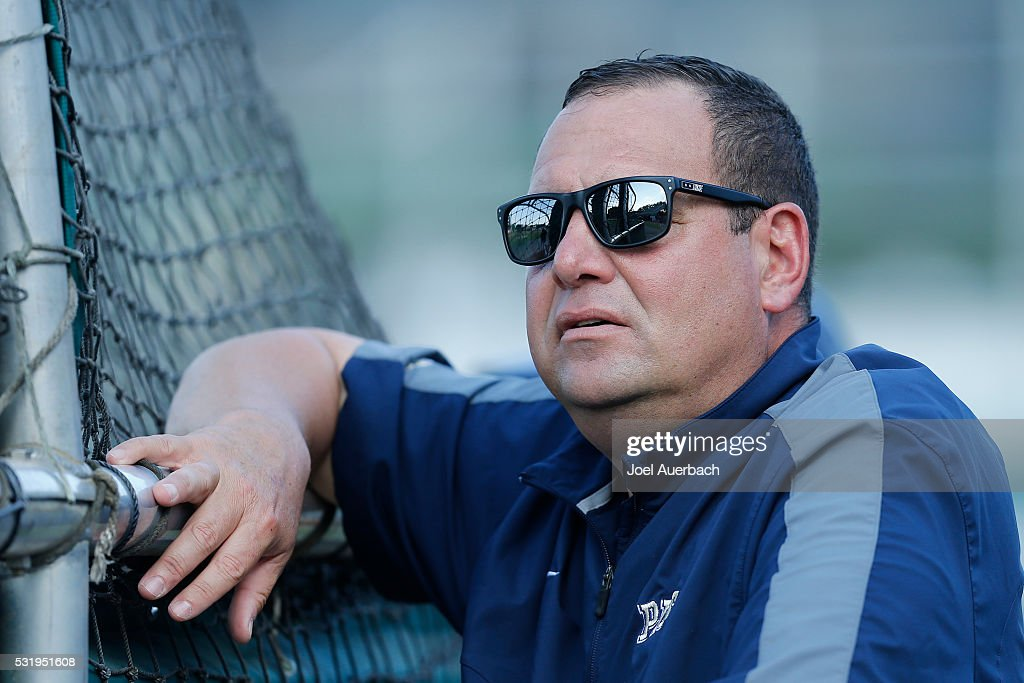 Head coach Joe Jordano of the Pittsburgh Panthers watches the players take batting practice prior to the game against the Miami Hurricanes on May 14...