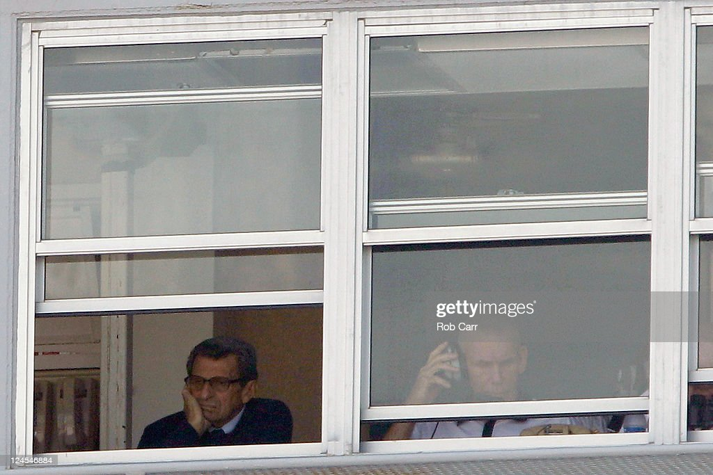 Head coach Joe Paterno of the Penn State Nittany Lions coaches from the press box against the Alabama Crimson Tide during the first half at Beaver Stadium on September 10, 2011 in State College, Pennsylvania.