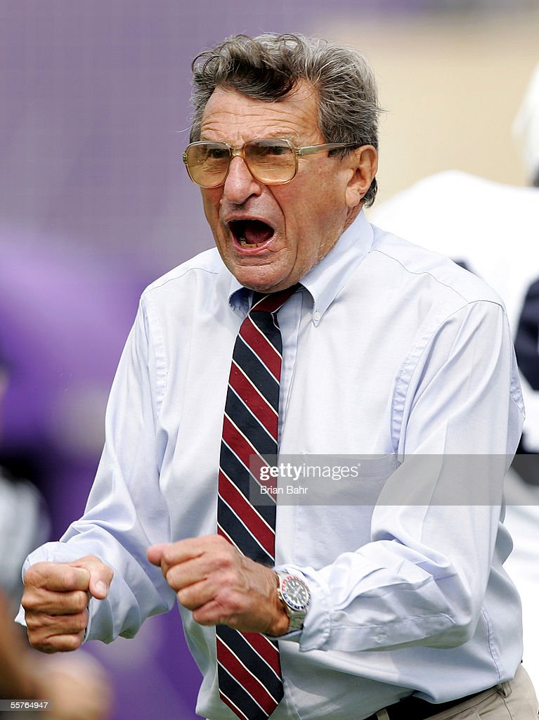 Head coach <a gi-track='captionPersonalityLinkClicked' href=/galleries/search?phrase=Joe+Paterno&family=editorial&specificpeople=623059 ng-click='$event.stopPropagation()'>Joe Paterno</a> of the Penn State Nittany Lions gets worked up on a touchdown by wide receiver Deon Butler after falling behind the Northwestern Wildcats in the first half on September 24, 2005 at Ryan Field in Evanston, Illinois. Penn State won 34-29.