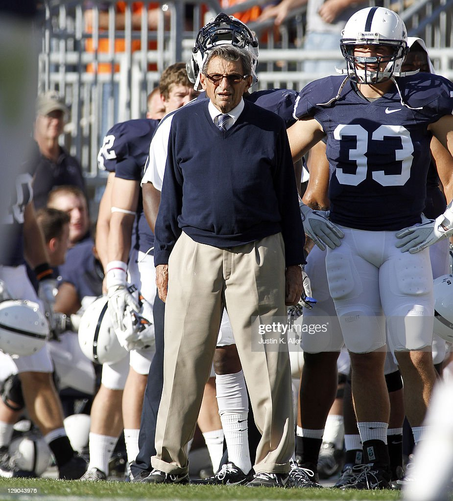 Head coach Joe Paterno of the Penn State Nittany Lions looks on against the Iowa Hawkeyes during the game on October 8, 2011 at Beaver Stadium in State College, Pennsylvania.