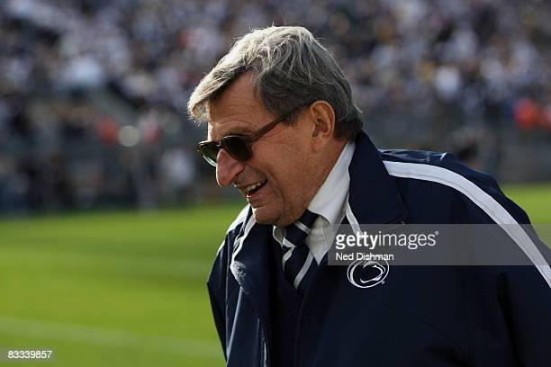 Head coach Joe Paterno of the Penn State Nittany Lions smiles on the field prior to game against the University of Michigan Wolverines at Beaver...
