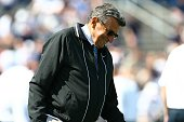 Head coach Joe Paterno of the Penn State Nittany Lions smiles on the sideline during the game against the University of Akron Zips at Beaver Stadium...