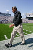 Head coach Joe Paterno of the Penn State Nittany Lions walks on the sideline during the game against the University of Akron Zips at Beaver Stadium...