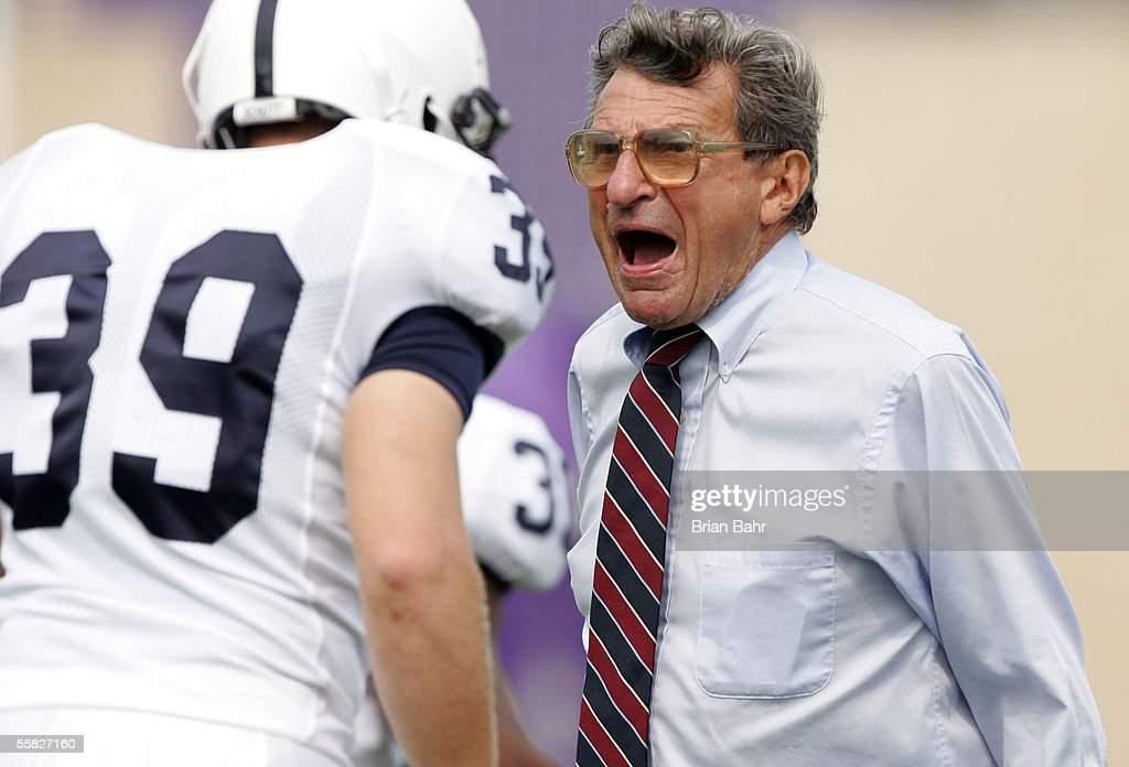 Head coach Joe Paterno of the Penn State Nittany Lions yells at linebacker Kevin Darling #39 against the Northwestern Wildcats September 24, 2005 at Ryan Field in Evanston, Illinois. Penn State won 34-29.