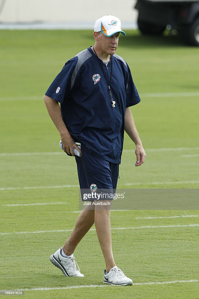 Head coach <a gi-track='captionPersonalityLinkClicked' href=/galleries/search?phrase=Joe+Philbin&family=editorial&specificpeople=2331822 ng-click='$event.stopPropagation()'>Joe Philbin</a> of the Miami Dolphins looks on as the players run a drill during the first team OTA on May 21, 2013 at the Miami Dolphins training facility in Davie, Florida.