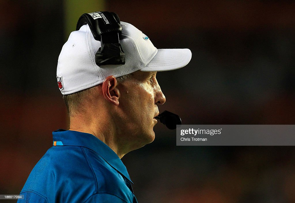 Head coach Joe Philbin of the Miami Dolphins looks on from the sideline against the Cincinnati Bengals at Sun Life Stadium on October 31, 2013 in Miami Gardens, Florida.