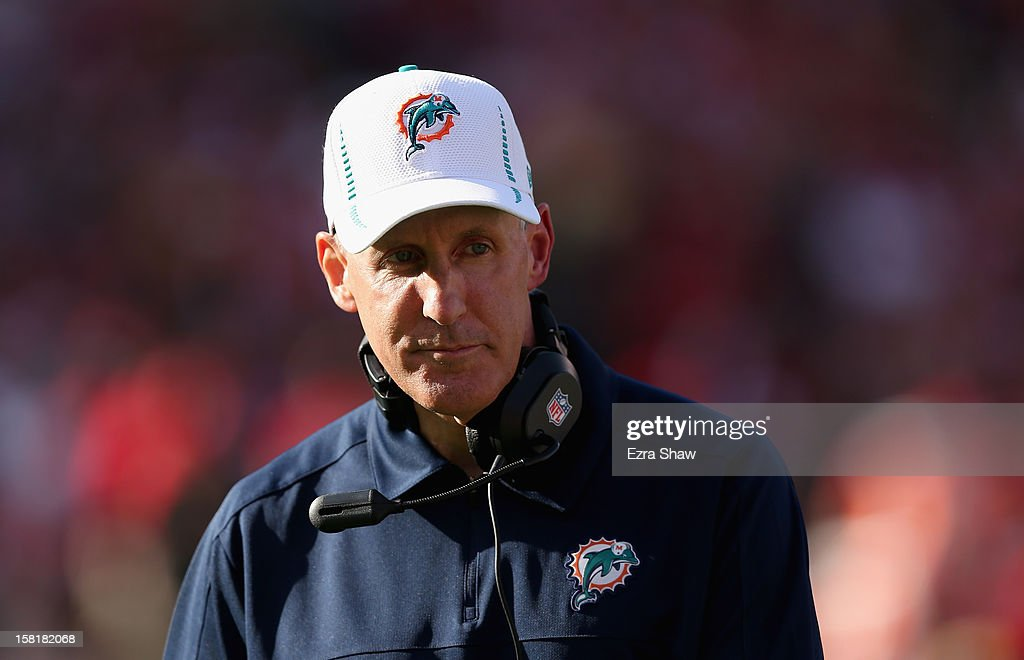 Head coach <a gi-track='captionPersonalityLinkClicked' href=/galleries/search?phrase=Joe+Philbin&family=editorial&specificpeople=2331822 ng-click='$event.stopPropagation()'>Joe Philbin</a> of the Miami Dolphins walks the sideline during their game against the San Francisco 49ers at Candlestick Park on December 9, 2012 in San Francisco, California.