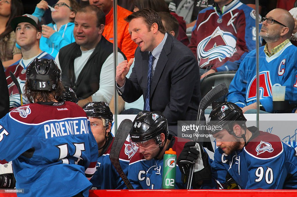 Head coach <a gi-track='captionPersonalityLinkClicked' href=/galleries/search?phrase=Joe+Sacco+-+Ice+Hockey+Coach&family=editorial&specificpeople=223879 ng-click='$event.stopPropagation()'>Joe Sacco</a> of the Colorado Avalanche directs his team against the Nashville Predators at the Pepsi Center on March 30, 2013 in Denver, Colorado. The Avalanche defeated the Predators 1-0 in overtime.