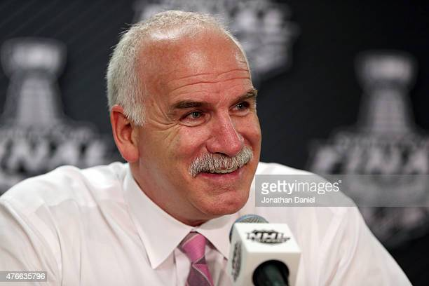 Head coach Joel Quenneville of the Chicago Blackhawks speaks to the media after defeating the Tampa Bay Lightning 21 in Game Four of the 2015 NHL...