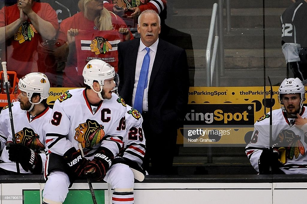 Head Coach Joel Quenneville of the Chicago Blackhawks stands on the bench against the Los Angeles Kings in Game Six of the Western Conference Final during the 2014 Stanley Cup Playoffs at Staples Center on May 30, 2014 in Los Angeles, California.