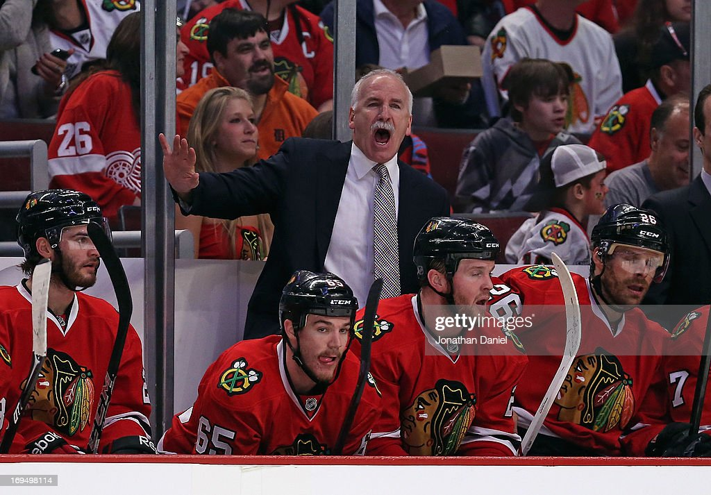 Head coach <a gi-track='captionPersonalityLinkClicked' href=/galleries/search?phrase=Joel+Quenneville&family=editorial&specificpeople=2094832 ng-click='$event.stopPropagation()'>Joel Quenneville</a> of the Chicago Blackhawks yells at a referee as his team takes on the Detroit Red Wings in Game Five of the Western Conference Semifinals during the 2013 NHL Stanley Cup Playoffs at the United Center on May 25, 2013 in Chicago, Illinois. The Blackhawks defeated the Red Wings 4-1.
