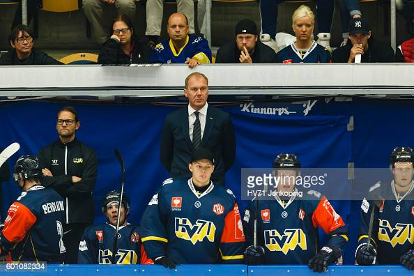 Head Coach Johan Lindbom of HV71 follows the game from the bench during the Champions Hockey League match between HV71 Jonkoping and Red Bull...