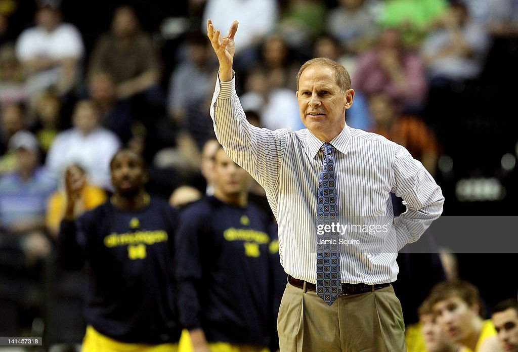 Head coach <a gi-track='captionPersonalityLinkClicked' href=/galleries/search?phrase=John+Beilein&family=editorial&specificpeople=233435 ng-click='$event.stopPropagation()'>John Beilein</a> of the Michigan Wolverines gestures to his players against the Ohio Bobcats during the second round of the 2012 NCAA Men's Basketball Tournament at Bridgestone Arena on March 16, 2012 in Nashville, Tennessee.