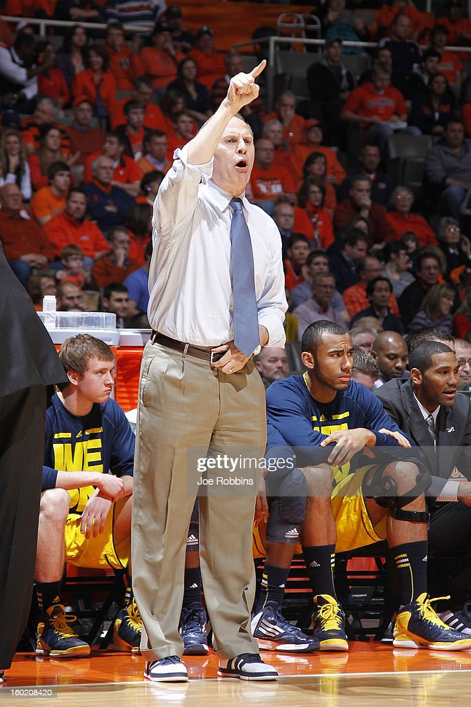 Head coach <a gi-track='captionPersonalityLinkClicked' href=/galleries/search?phrase=John+Beilein&family=editorial&specificpeople=233435 ng-click='$event.stopPropagation()'>John Beilein</a> of the Michigan Wolverines looks on against the Illinois Fighting Illini during the game at Assembly Hall on January 27, 2013 in Champaign, Illinois. Michigan defeated Illinois 74-60.