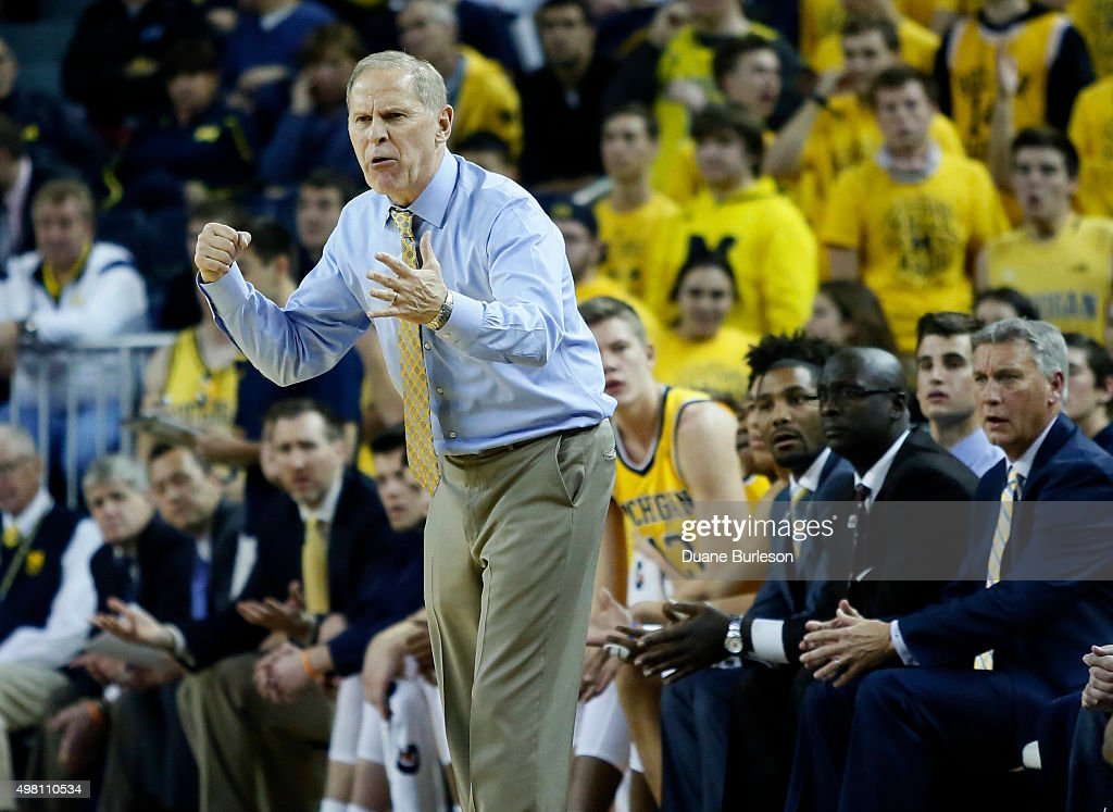 Head coach <a gi-track='captionPersonalityLinkClicked' href=/galleries/search?phrase=John+Beilein&family=editorial&specificpeople=233435 ng-click='$event.stopPropagation()'>John Beilein</a> of the Michigan Wolverines reacts during the second half of a game against the Xavier Musketeers at Crisler Arena on November 20, 2015 in Ann Arbor, Michigan. Xavier defeated Michigan 86-70.