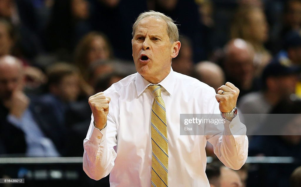 Head coach <a gi-track='captionPersonalityLinkClicked' href=/galleries/search?phrase=John+Beilein&family=editorial&specificpeople=233435 ng-click='$event.stopPropagation()'>John Beilein</a> of the Michigan Wolverines reacts in the first half against the Notre Dame Fighting Irish during the first round of the 2016 NCAA Men's Basketball Tournament at Barclays Center on March 18, 2016 in the Brooklyn borough of New York City.