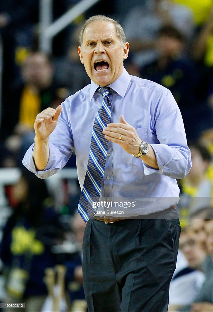Head coach <a gi-track='captionPersonalityLinkClicked' href=/galleries/search?phrase=John+Beilein&family=editorial&specificpeople=233435 ng-click='$event.stopPropagation()'>John Beilein</a> of the Michigan Wolverines reacts to a call against Michigan during the second half of a game against the Eastern Michigan Eagles at Crisler Arena on December 9, 2014 in Ann Arbor, Michigan.