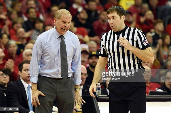Head coach John Beilein of the Michigan Wolverines reacts to an official's call during a game against the Wisconsin Badgers at the Kohl Center on...