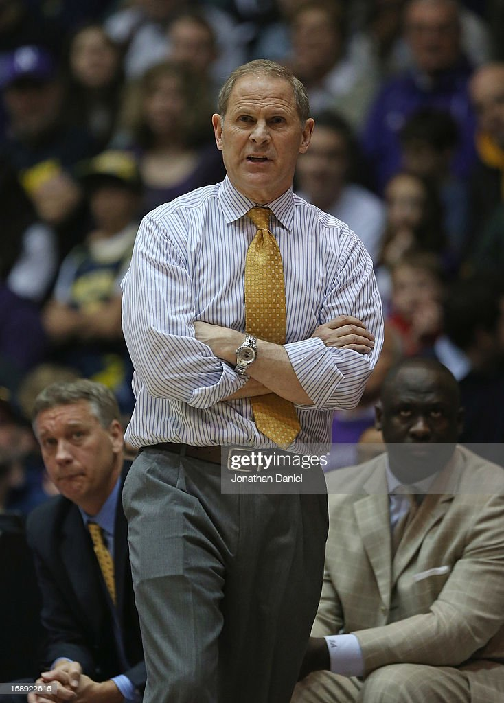 Head coach John Beilein of the Michigan Wolverines watches as his team takes on the Northwestern Wildcats at Welsh-Ryan Arena on January 3, 2013 in Evanston, Illinois. Michigan defeated Northwestern 94-66.