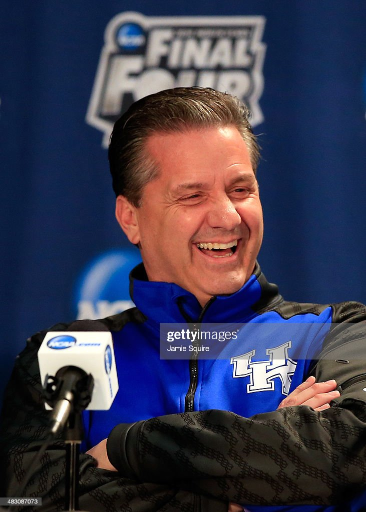 Head coach <a gi-track='captionPersonalityLinkClicked' href=/galleries/search?phrase=John+Calipari&family=editorial&specificpeople=619983 ng-click='$event.stopPropagation()'>John Calipari</a> of Kentucky talks to the media during an NCAA Men's Final Four press conference at AT&T Stadium on April 6, 2014 in Arlington, Texas.