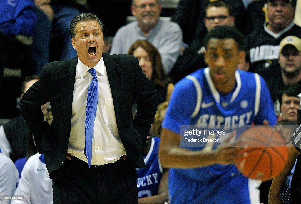 Head coach <a gi-track='captionPersonalityLinkClicked' href=/galleries/search?phrase=John+Calipari&family=editorial&specificpeople=619983 ng-click='$event.stopPropagation()'>John Calipari</a> of the Kentucky Wildcats coaches his team against the Vanderbilt Commodores at Memorial Gym on January 10, 2013 in Nashville, Tennessee.