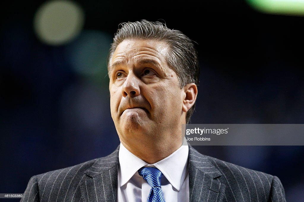 Head coach <a gi-track='captionPersonalityLinkClicked' href=/galleries/search?phrase=John+Calipari&family=editorial&specificpeople=619983 ng-click='$event.stopPropagation()'>John Calipari</a> of the Kentucky Wildcats looks on against the Missouri Tigers during the game at Rupp Arena on January 13, 2015 in Lexington, Kentucky. Kentucky defeated Missouri 86-37.