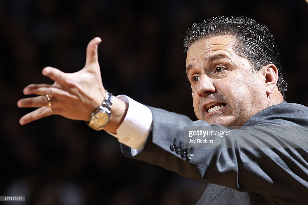 Head coach <a gi-track='captionPersonalityLinkClicked' href=/galleries/search?phrase=John+Calipari&family=editorial&specificpeople=619983 ng-click='$event.stopPropagation()'>John Calipari</a> of the Kentucky Wildcats reacts against the Notre Dame Fighting Irish during the game at Purcell Pavilion at the Joyce Center on November 29, 2012 in South Bend, Indiana.