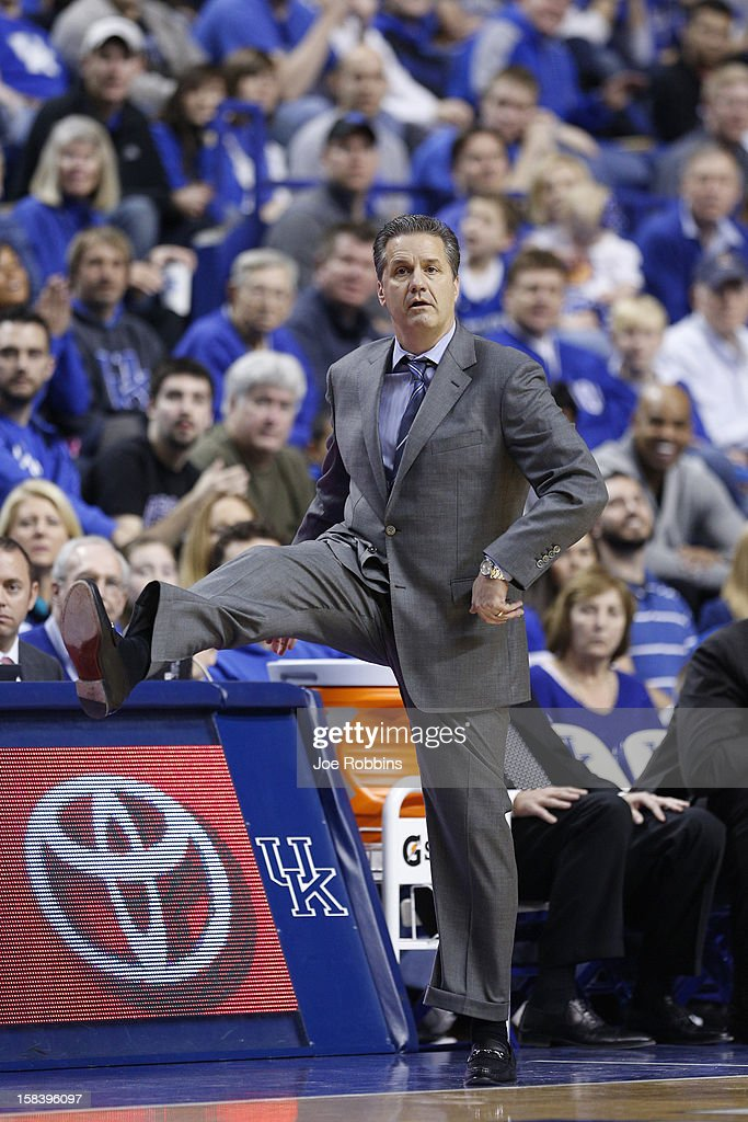 Head coach John Calipari of the Kentucky Wildcats reacts against the Lipscomb Bisons during the game at Rupp Arena on December 15, 2012 in Lexington, Kentucky.