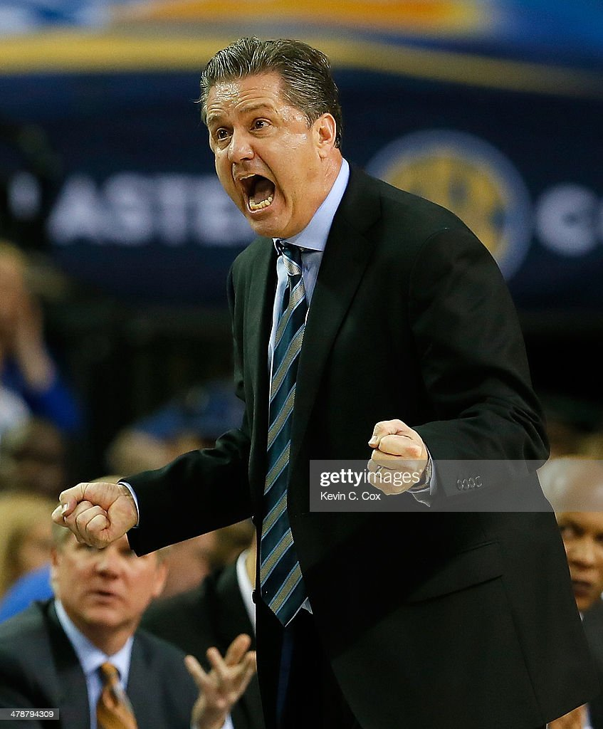 Head coach <a gi-track='captionPersonalityLinkClicked' href=/galleries/search?phrase=John+Calipari&family=editorial&specificpeople=619983 ng-click='$event.stopPropagation()'>John Calipari</a> of the Kentucky Wildcats reacts during the quarterfinals of the SEC Men's Basketball Tournament against the LSU Tigers at Georgia Dome on March 14, 2014 in Atlanta, Georgia.