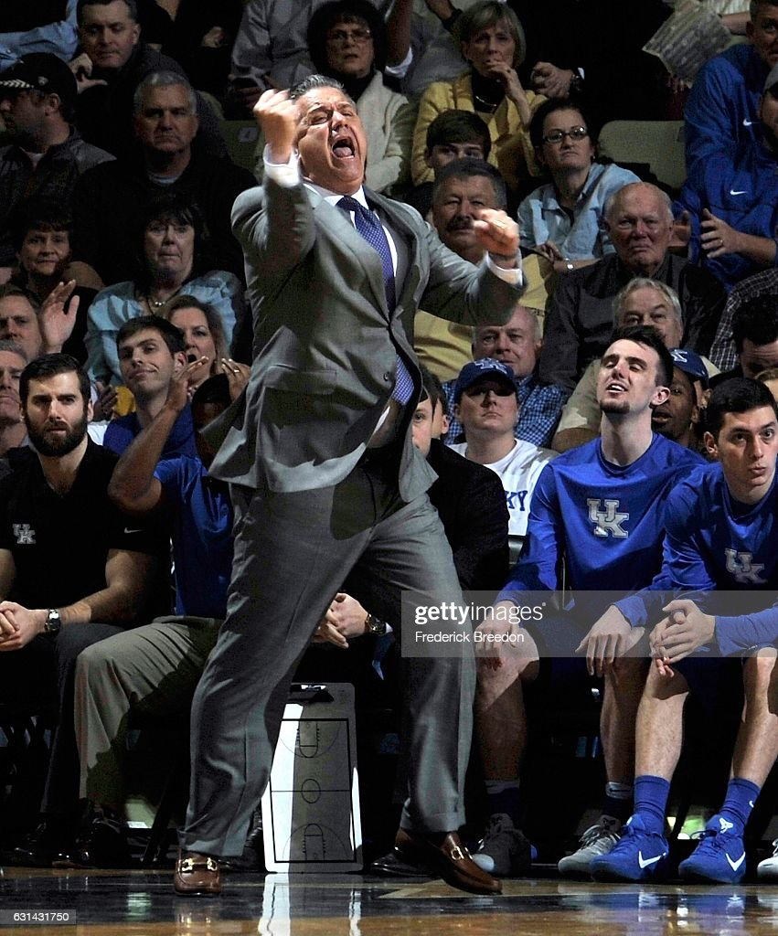 Head coach John Calipari of the Kentucky Wildcats reacts during the first half of a game against the Vanderbilt Commodores at Memorial Gym on January 10, 2017 in Nashville, Tennessee.