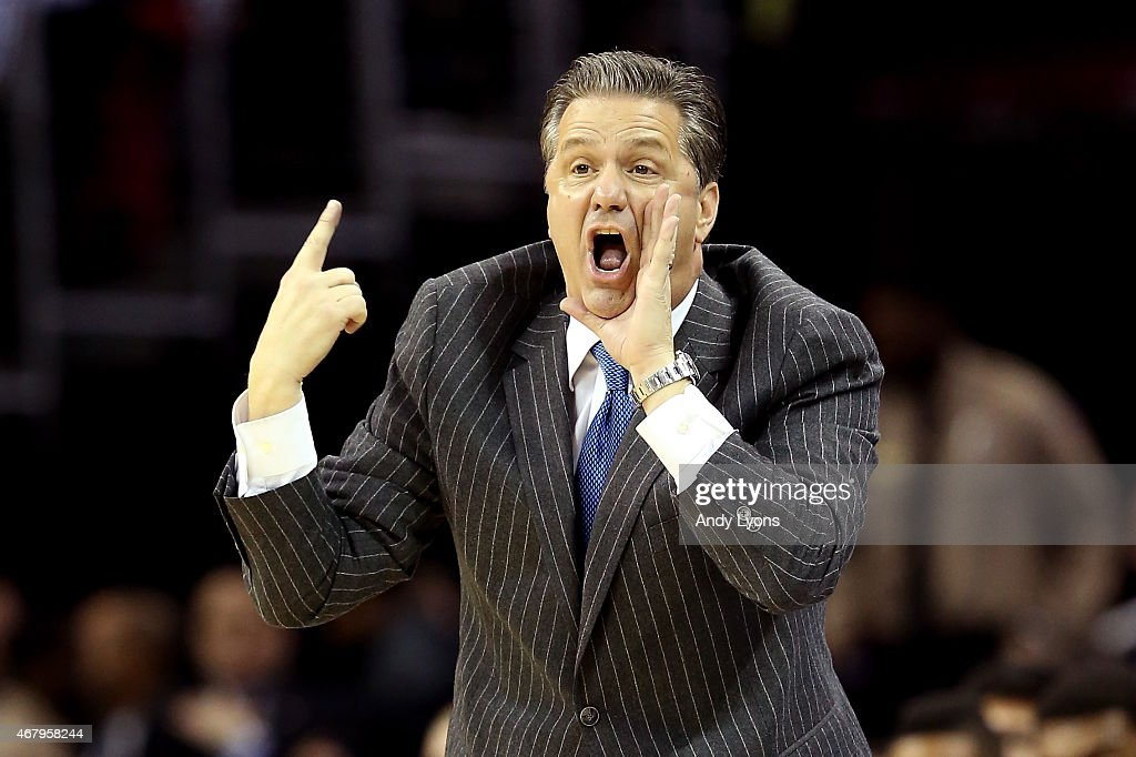 Head coach <a gi-track='captionPersonalityLinkClicked' href=/galleries/search?phrase=John+Calipari&family=editorial&specificpeople=619983 ng-click='$event.stopPropagation()'>John Calipari</a> of the Kentucky Wildcats reacts on the sideline in the first half against the Notre Dame Fighting Irish during the Midwest Regional Final of the 2015 NCAA Men's Basketball tournament at Quicken Loans Arena on March 28, 2015 in Cleveland, Ohio.