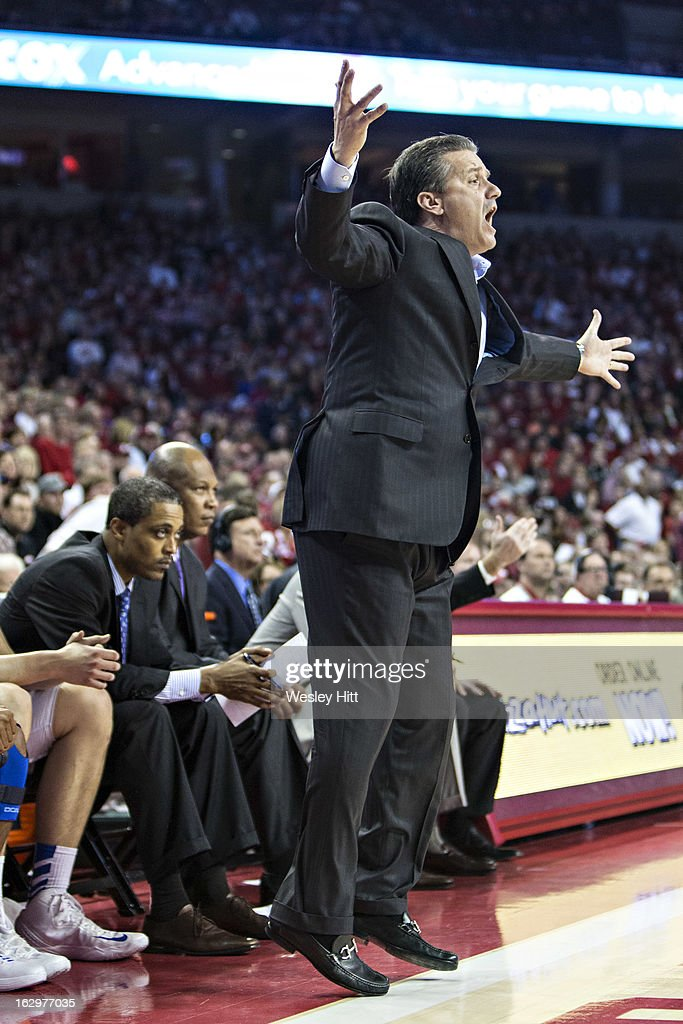 Head Coach <a gi-track='captionPersonalityLinkClicked' href=/galleries/search?phrase=John+Calipari&family=editorial&specificpeople=619983 ng-click='$event.stopPropagation()'>John Calipari</a> of the Kentucky Wildcats reacts to a play during a game against the Arkansas Razorbacks at Bud Walton Arena on March 2, 2013 in Fayetteville, Arkansas. The Razorbacks defeated the Wildcats 73-60.