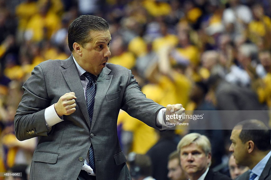 Head coach <a gi-track='captionPersonalityLinkClicked' href=/galleries/search?phrase=John+Calipari&family=editorial&specificpeople=619983 ng-click='$event.stopPropagation()'>John Calipari</a> of the Kentucky Wildcats reacts to a score during the second half of a game against the LSU Tigers at the Pete Maravich Assembly Center on February 10, 2015 in Baton Rouge, Louisiana.