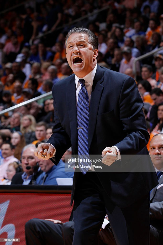 Head Coach John Calipari of the Kentucky Wildcats shouts downcourt against the Tennessee Volunteers in a game at Thompson-Boling Arena on February 2, 2016 in Knoxville, Tennessee.