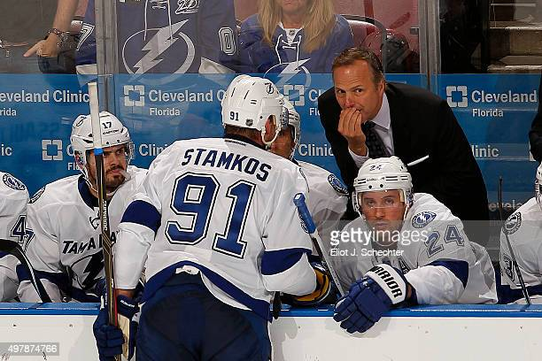Head Coach John Cooper of the Tampa Bay Lightning chats with Steven Stamkos during a break in the action against the Florida Panthers at the BBT...