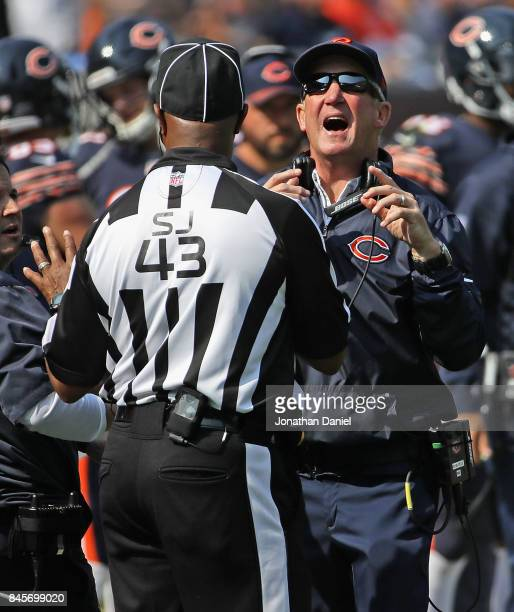 Head coach John Fox of the Chicago Bears argues with side judge Terry Brown during the season opening game against the Atlanta Falcons at Soldier...