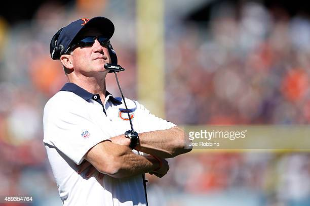 Head coach John Fox of the Chicago Bears looks on against the Arizona Cardinals in the third quarter at Soldier Field on September 20 2015 in Chicago...