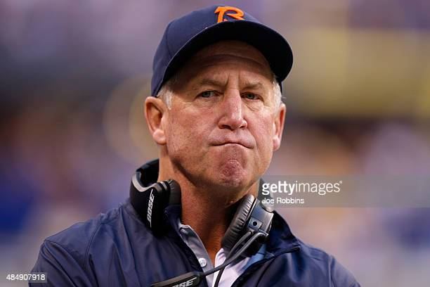 Head coach John Fox of the Chicago Bears looks on against the Indianapolis Colts in the first half of a preseason game at Lucas Oil Stadium on August...