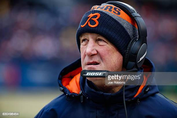 Head coach John Fox of the Chicago Bears looks on from the sidelines in the first quarter against the Washington Redskins at Soldier Field on...