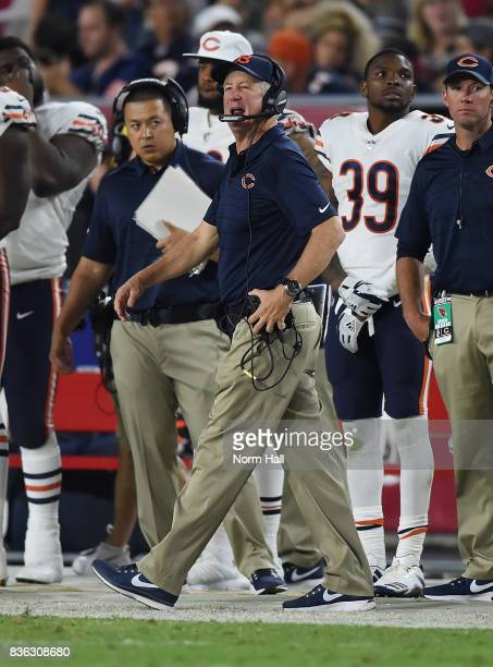 Head coach John Fox of the Chicago Bears looks on from the sidelines during a game against the Arizona Cardinals at University of Phoenix Stadium on...