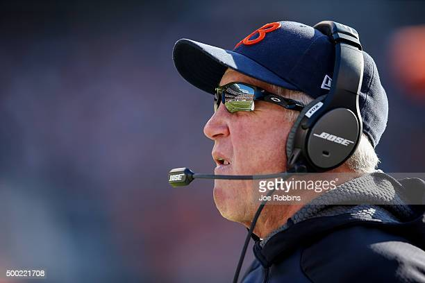 Head coach John Fox of the Chicago Bears looks on in the first quarter against the San Francisco 49ers at Soldier Field on December 6 2015 in Chicago...
