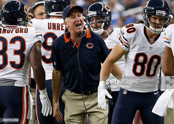 head coach John Fox of the Chicago Bears reacts after a second quarter touchdown against the Detroit Lions at Ford Field on October 18 2015 in...