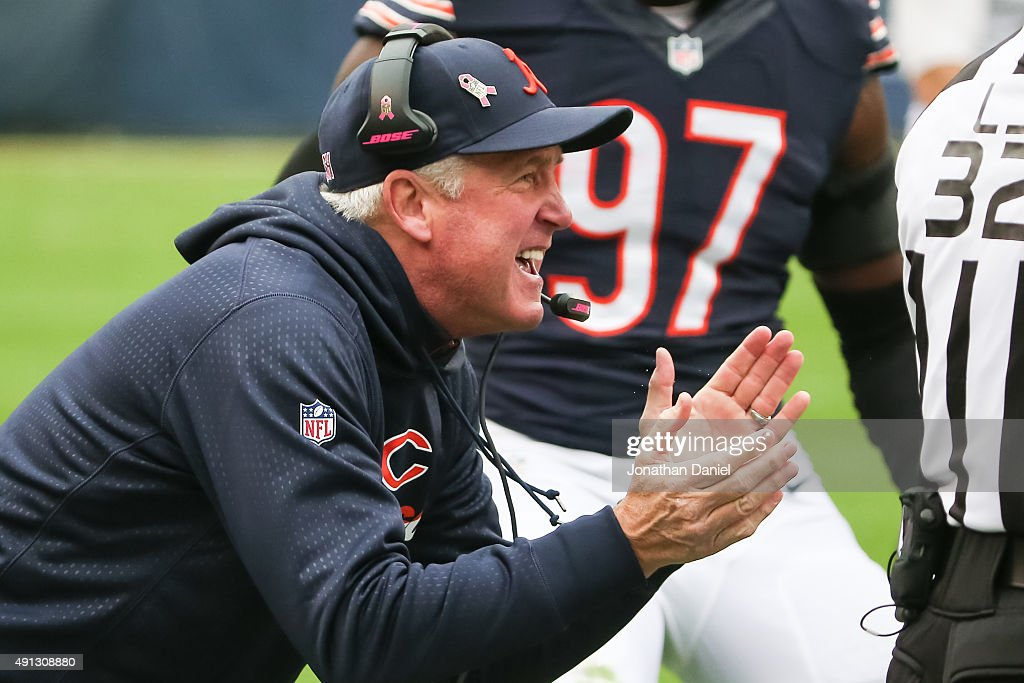 Head coach <a gi-track='captionPersonalityLinkClicked' href=/galleries/search?phrase=John+Fox+-+Coach&family=editorial&specificpeople=206657 ng-click='$event.stopPropagation()'>John Fox</a> of the Chicago Bears reacts after Pernell McPhee #92 intercepted the football against the Oakland Raiders in the second quarter at Soldier Field on October 4, 2015 in Chicago, Illinois.