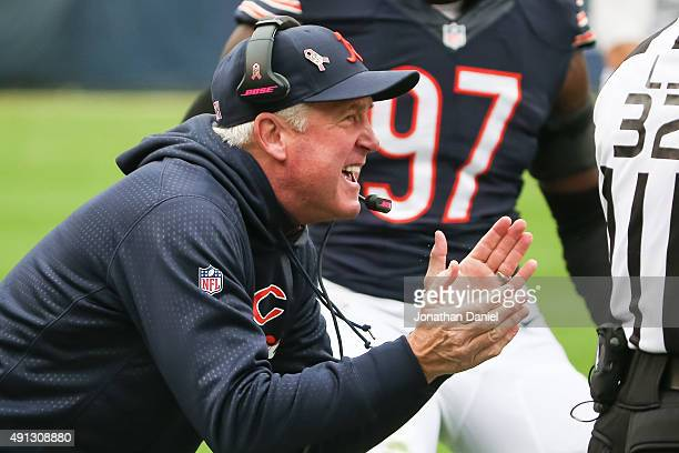 Head coach John Fox of the Chicago Bears reacts after Pernell McPhee intercepted the football against the Oakland Raiders in the second quarter at...
